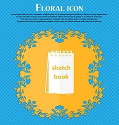 Sketchbook icon Floral flat design on a blue vector