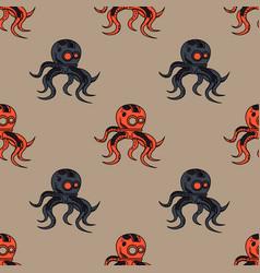 Spooky octupus robot seamless pattern vector