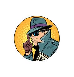 spy secret agent finger gun gesture vector image