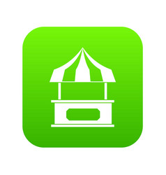 store kiosk with striped awning icon digital green vector image