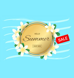 summer plumeria flowers gold frame or summer vector image