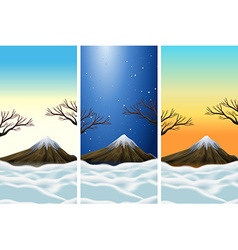 Three scenes of moutains with snowtop vector