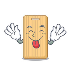 Tongue out wooden cutting board mascot cartoon vector
