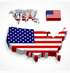 united states america 3d map and flag vector image