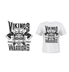 viking warrior tshirt print scandinavian knight vector image