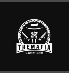 vintage mafia gangster gunman logo vector image