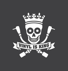 Vinyl is king record dj logo vector