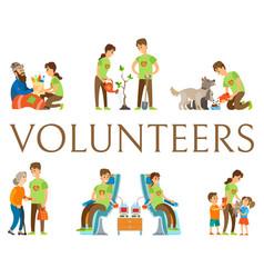 Volunteers helping people donating blood set vector