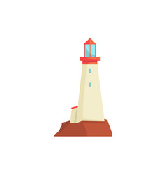 White lighthouse searchlight tower for maritime vector
