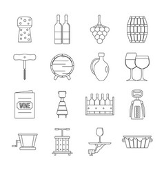 wine icons set outline style vector image