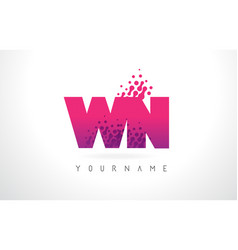 Wn w n letter logo with pink purple color and vector