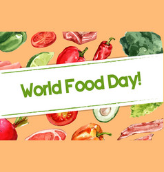 World food day frame design with chili tomato vector