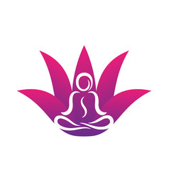 Yoga logo template on white man in lotus position vector