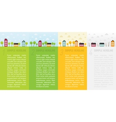 Banners with small town in different seasons vector image