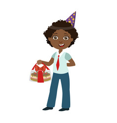 boy with cake in box part of kids at the birthday vector image vector image