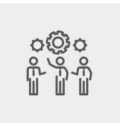Businessmen holding a gear of machine thin line vector image vector image