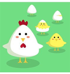 Chicken Chick and Egg in Green Background vector image