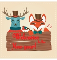 Christmas cute forest animals deer and fox holding vector image
