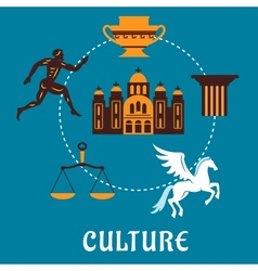 Culture Greece concept with flatl icons vector image