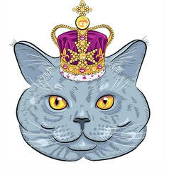 funny British cat in gold crown vector image