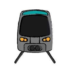 Gray high speed train passenger rail road sketch vector