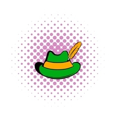 Green hat with a feather icon comics style vector image