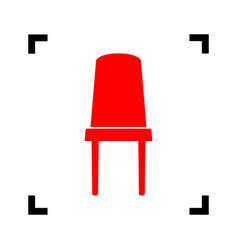 office chair sign red icon inside black vector image vector image