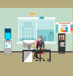 arabic businesswoman working on computer vector image vector image