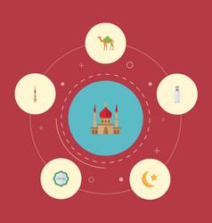 Flat icons dromedary minaret decorative and vector