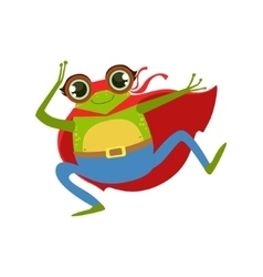 Frog Animal Dressed As Superhero With A Cape Comic vector image vector image