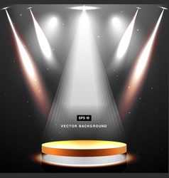 gold stage with spotlight and star on black vector image