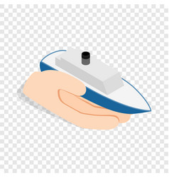 hand holds ship isometric icon vector image