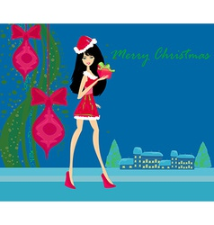 winter girl with gift box vector image vector image