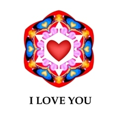 Abstract heart I love you card background vector image vector image