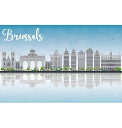 Brussels skyline with ornate buildings vector