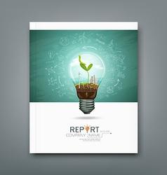 Cover annual report green seedlings light bulb vector image
