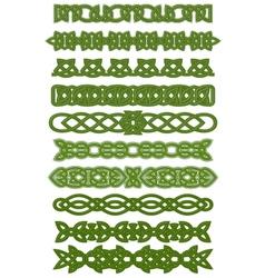 Green celtic knots ornaments vector image