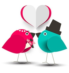 Kissing Birds Romantic with Paper Cut Heart vector image