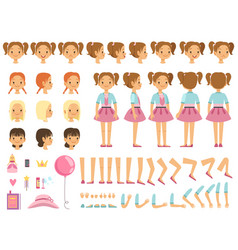 mascot creation kit of little girl and some vector image vector image