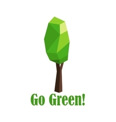 Polygonal green tree with elongated crown vector image vector image
