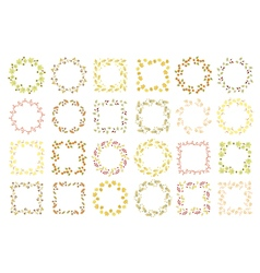 Set of twenty four floral round and square frames vector image