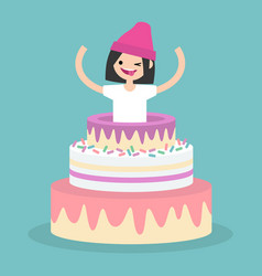 young female character jumping out of a cake vector image