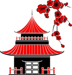 Asian house and cherry blossoms vector image