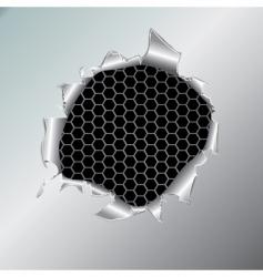 hexagon metallic background under hole vector image