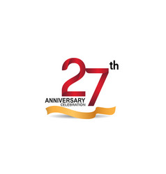 27 anniversary design logotype red color vector