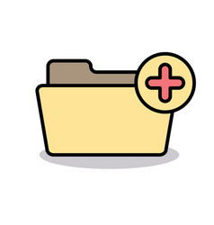 add attach create folder make new plus icon vector image