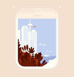 aircraft or plane window view on seaside city vector image