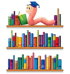 an earthworm reading at top bookshelves vector image