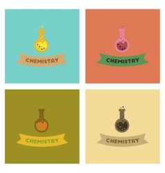 Assembly flat icons chemistry lesson vector