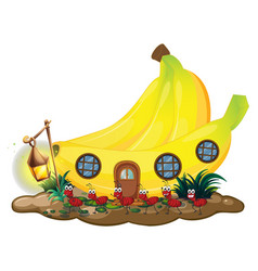 Banana house with red ants marching outside vector